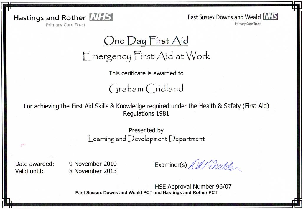 Emergency First Aid At Work Certificate Award Winning Wssaaaward